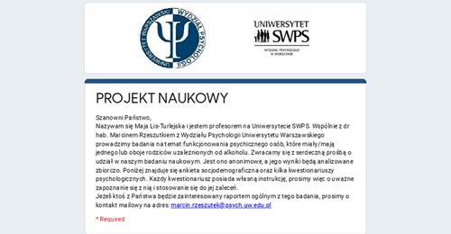 Funkcjonowanie psychiczne DDA (ankieta) – projekt naukowy UW i SWPS